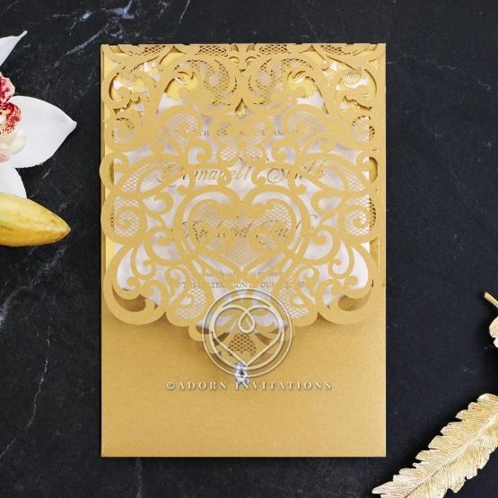 Golden Baroque Pocket with Foil Wedding Invitation Design