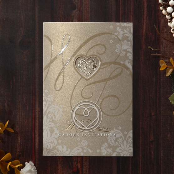 Foil printed gold themed wedding card with classic look