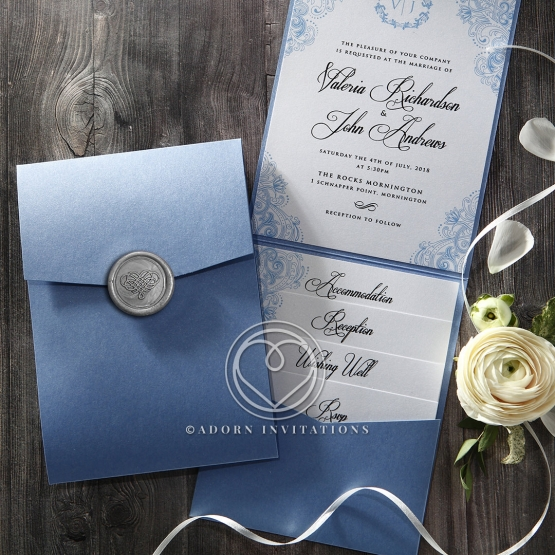 Pearl Blue Pocket Invite With Luxurious Silver Wax Stamp Seal
