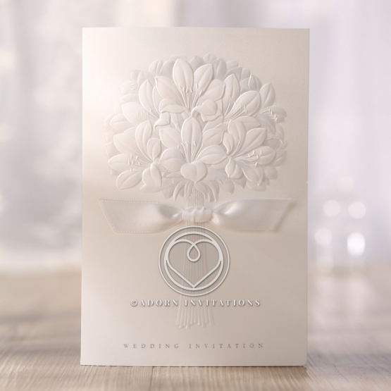 Bouquet designed ivory invitation with foiling on the cover and ribbon