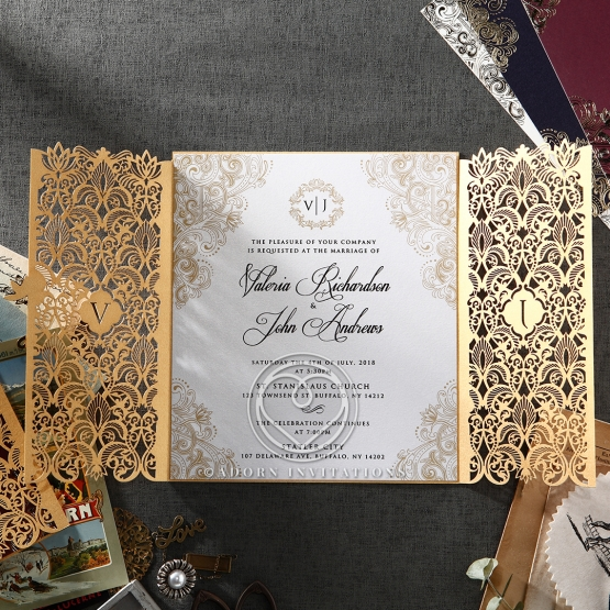 classic pearl invite with golden borders covered in a luxurious golden pocket - Luxury Wedding Invitations