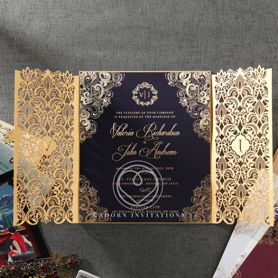 sophisticated black card in gold foiled border with intricate laser cut pocket - Luxury Wedding Invitations