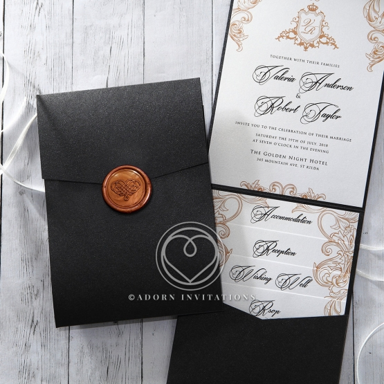 Black pearl pocket invite with stunning gold wax seal