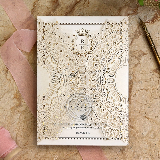Ivory Doily Elegance with Foil Card
