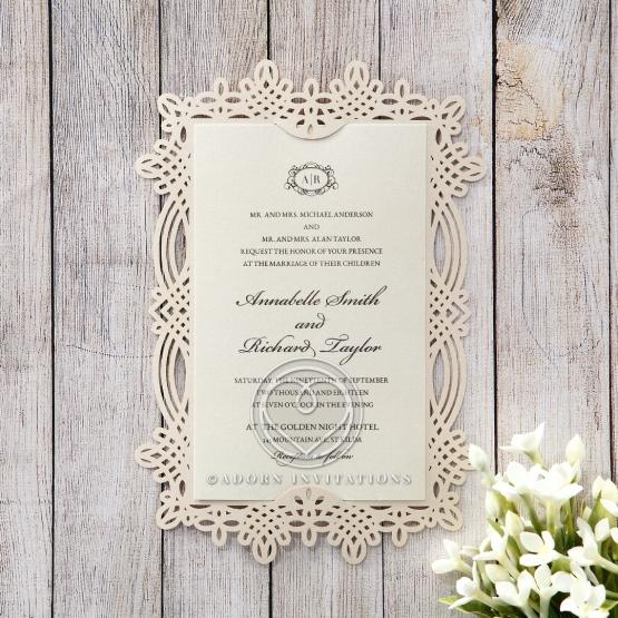 Ivory Victorian Charm Wedding Invite Card