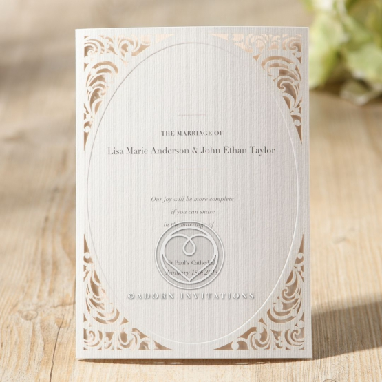Die cut vintage themed wedding invite card with canvas insert
