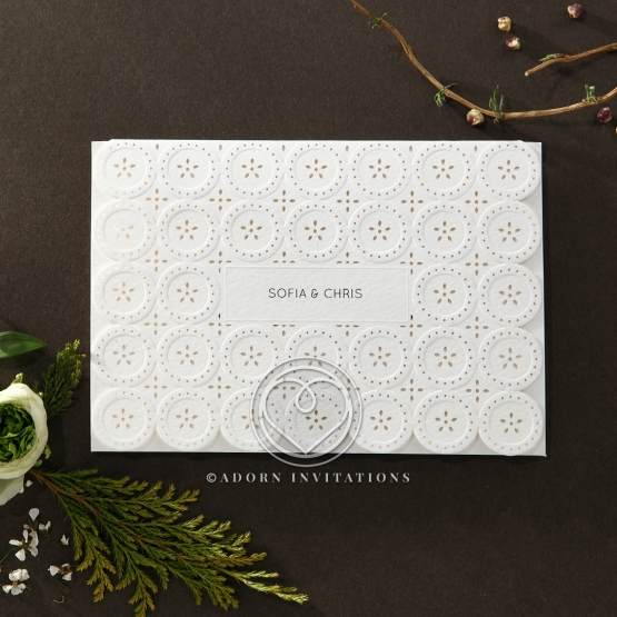 Delightful matte white textured card with button design die cut flap cover