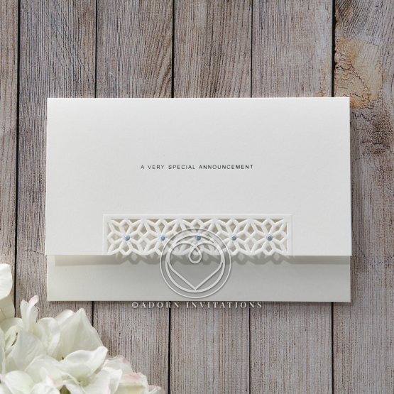 Die cut floral modern white invite with silver foil text