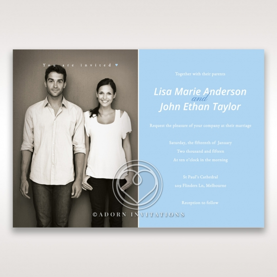 White and blue designed photo invitation with modern black and white photo on the left