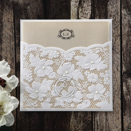 Flower and pearl themed traditional invitation with matte pocket