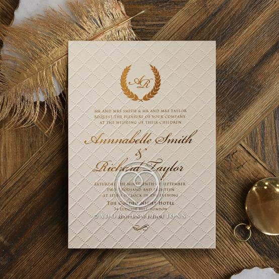 Quilted Letterpress Elegance Invitation