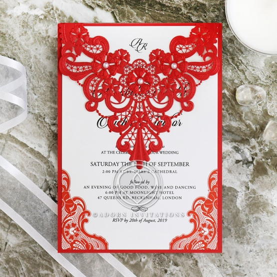 Red Lace Drop Stationery card