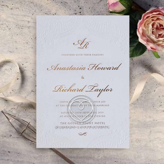 Regal Charm Letterpress Wedding Invitation