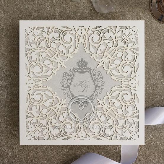 Regally Romantic Wedding Invite Card