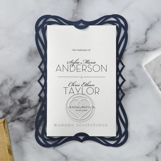 Vintage themed royal blue laser cut frame encasing a white textured card
