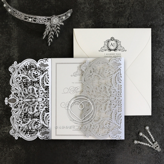 Royal Lace with Foil Wedding Invitation Design