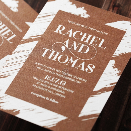 Rustic Invite Card with Brush and Gold Details – Invite Card