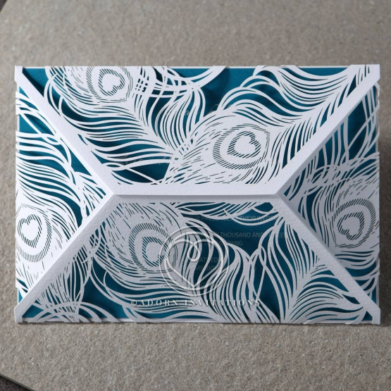 Modern peacock wrap with aqua inner paper
