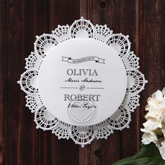 Circular laser cut modern invitation with intricate lace edged design