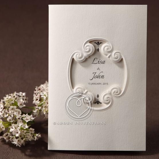 Frame embossed designed wedding invitation design with white theme