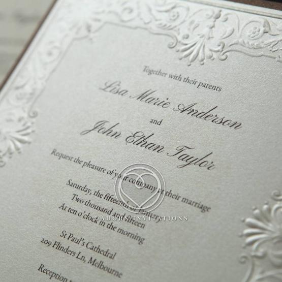 Vintage Embossed Framed Invitation, Cream Paper & Silk Foil