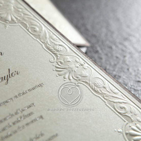 Vintage Embossed Framed Invitation, Cream Paper & Silk Foil