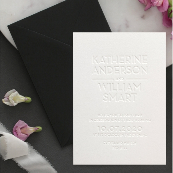 Chic Blind Letterpress on Cotton White - Wedding Invitations - WPBD-01 - 178507