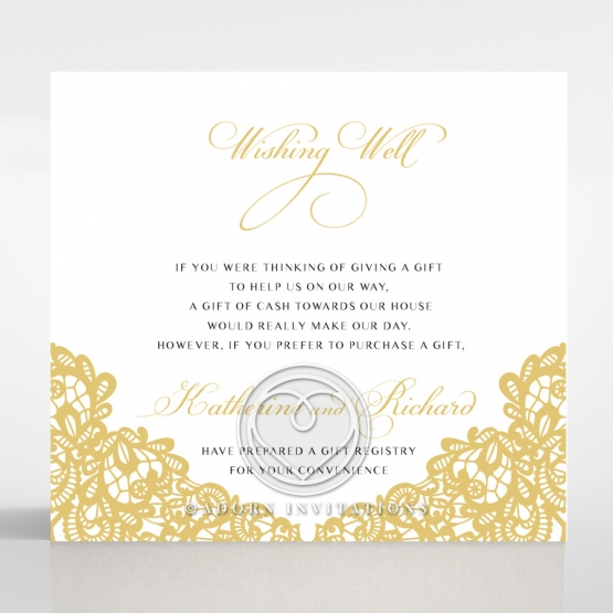 Charming Lace Frame wishing well enclosure invite card design