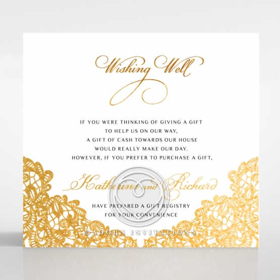 Charming Lace Frame with Foil wishing well enclosure invite card