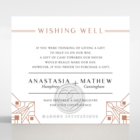 Gatsby Glamour wishing well enclosure stationery card