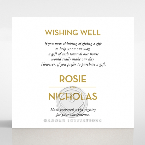 Gold Chic Charm Paper wedding gift registry enclosure card