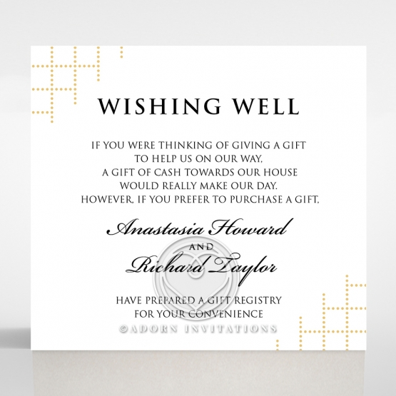 Quilted Letterpress Elegance gift registry invite