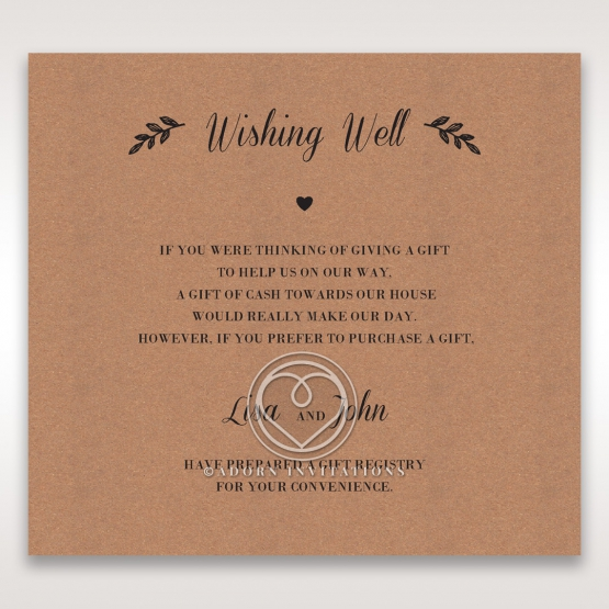 Rustic wedding stationery gift registry invitation