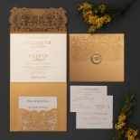Golden Laced Pocket with Gold Foil - Wedding Invitations - PWI116022-WH-C-7616 - 178514