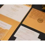 Golden Laced Pocket with Gold Foil - Wedding Invitations - PWI116022-WH-C-7616 - 178513