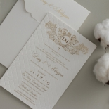 Quilted Regal Allure with Crest Foiled Pocket - Wedding Invitations - WP307GG - 178459
