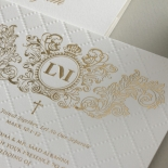 Quilted Regal Allure with Crest Foiled Pocket - Wedding Invitations - WP307GG - 178458