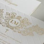 Quilted Regal Allure with Crest Foiled Pocket - Wedding Invitations - WP307GG - 178457