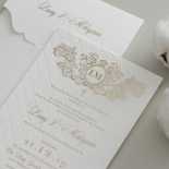 Quilted Regal Allure with Crest Foiled Pocket - Wedding Invitations - WP307GG - 178456
