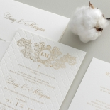 Quilted Regal Allure with Crest Foiled Pocket - Wedding Invitations - WP307GG - 178455