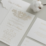 Quilted Regal Allure with Crest Foiled Pocket - Wedding Invitations - WP307GG - 178454