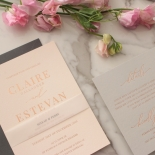 Shades of Grey and Blush with Rose Gold Foil  - Wedding Invitations - WP301GG - 178220