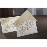 Embossed Floral Pocket bridal shower invitation