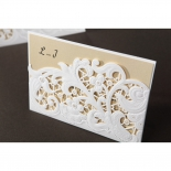 Embossed Floral Pocket bridal shower party invite card design