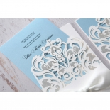 Romantic White Laser Cut Half Pocket bridal shower party invite card design
