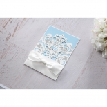 Romantic White Laser Cut Half Pocket bridal shower party invitation card