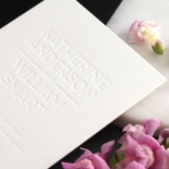 Chic Blind Letterpress on Cotton White - Wedding Invitations - WPBD-01 - 178504