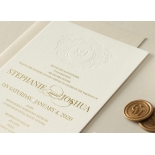 Letterpressed Monogram with Foil  - Wedding Invitations - WP-IC55-BLGG-01 - 178931