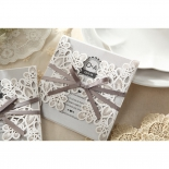 Charming Rustic Laser Cut Wrap engagement invite card