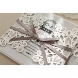 Charming Rustic Laser Cut Wrap engagement invitation design